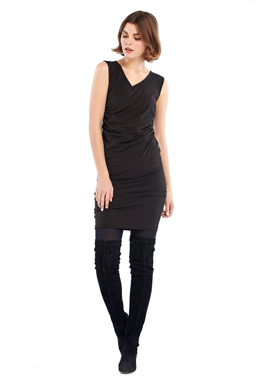 Organic Bamboo Crossover Dress Black