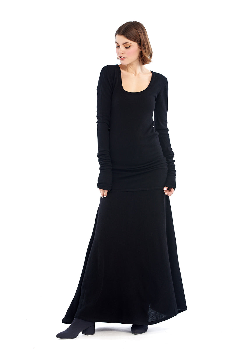 100% Pure Mongolian Cashmere Fitted Shift Dress Black - MUDRA