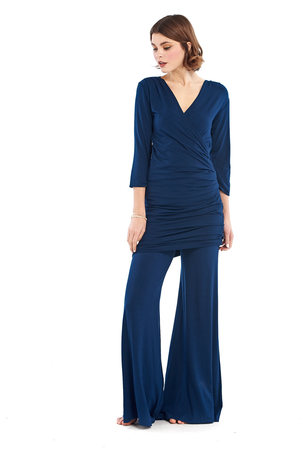 Bamboo Crossover Dress Navy - MUDRA