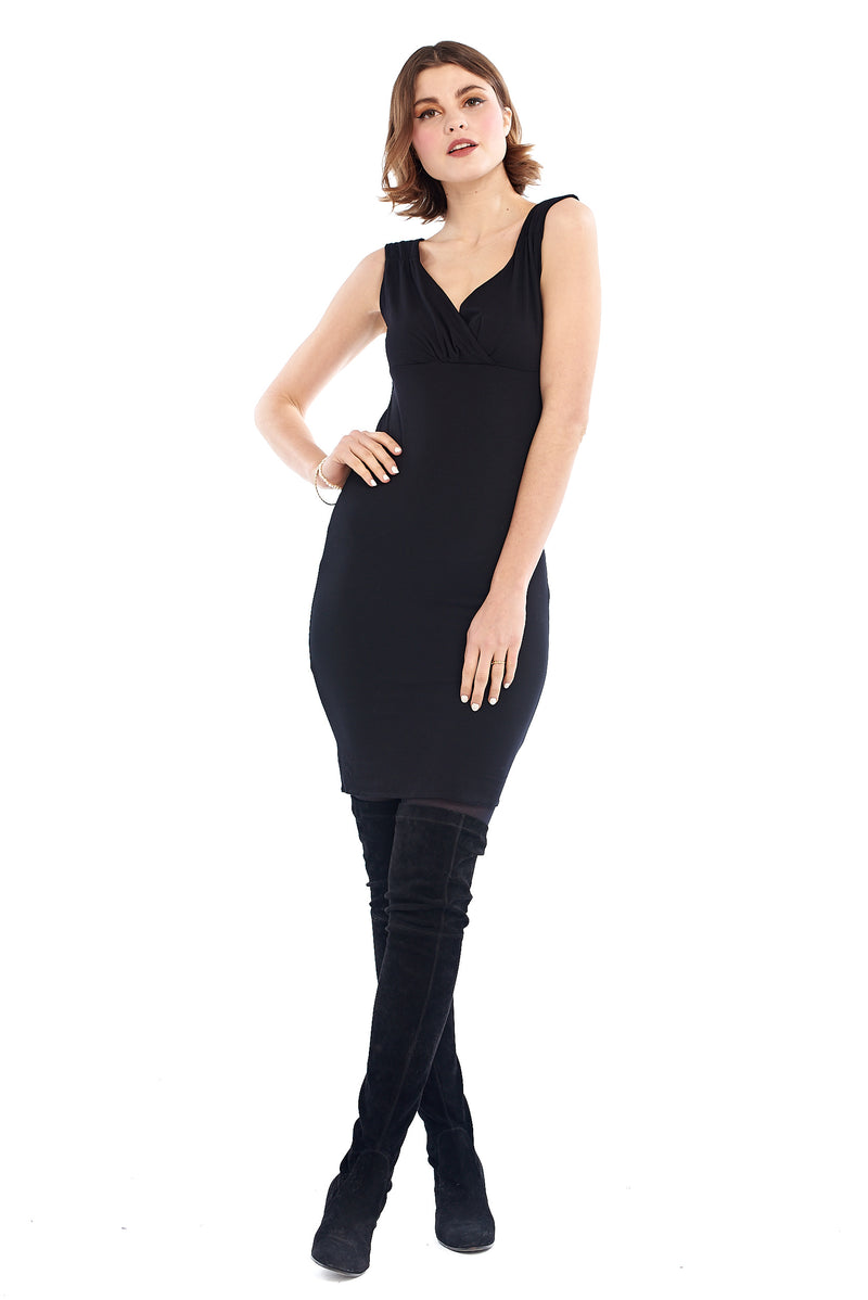 Bamboo Bardot Dress Black - MUDRA