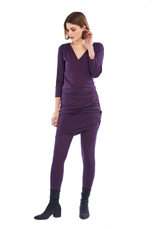 Bamboo Crossover Dress Deep Purple