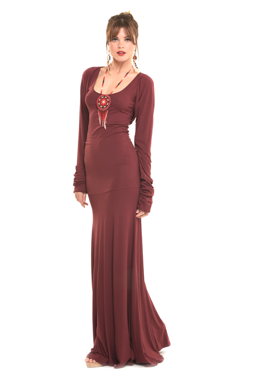 Bamboo Flamenco Dress Burgundy