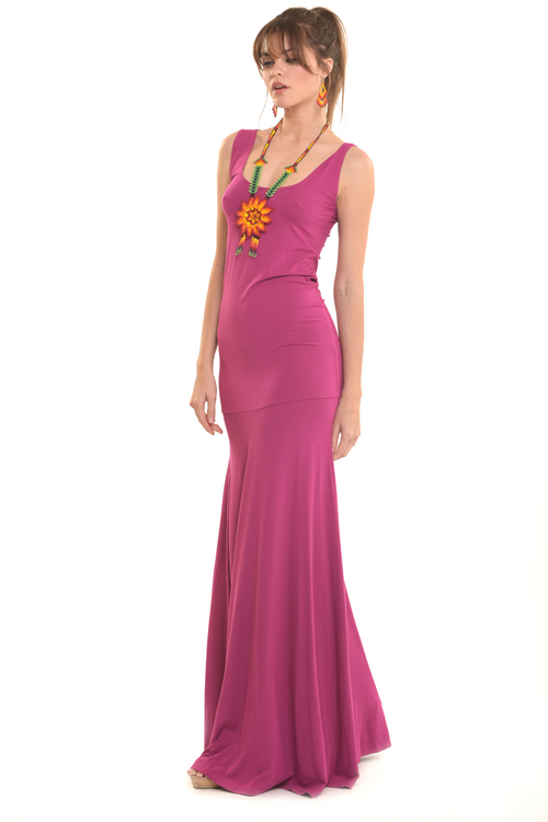 Bamboo Flamenco Dress Deep Pink