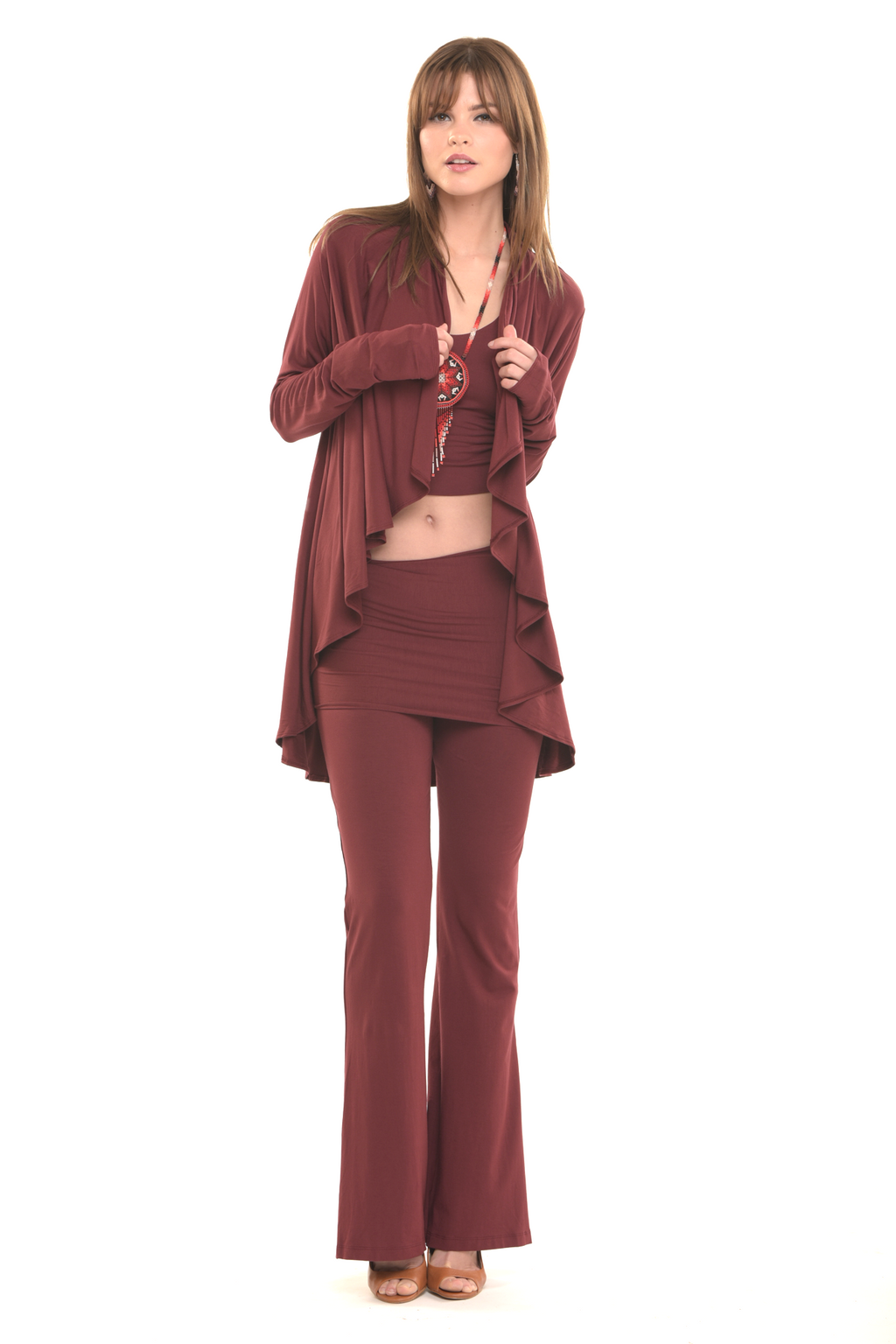 Bamboo Yoga Pants Boot Cut Burgundy - MUDRA