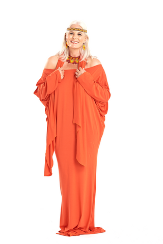 Bamboo Lotus Dress Top Spicy Orange