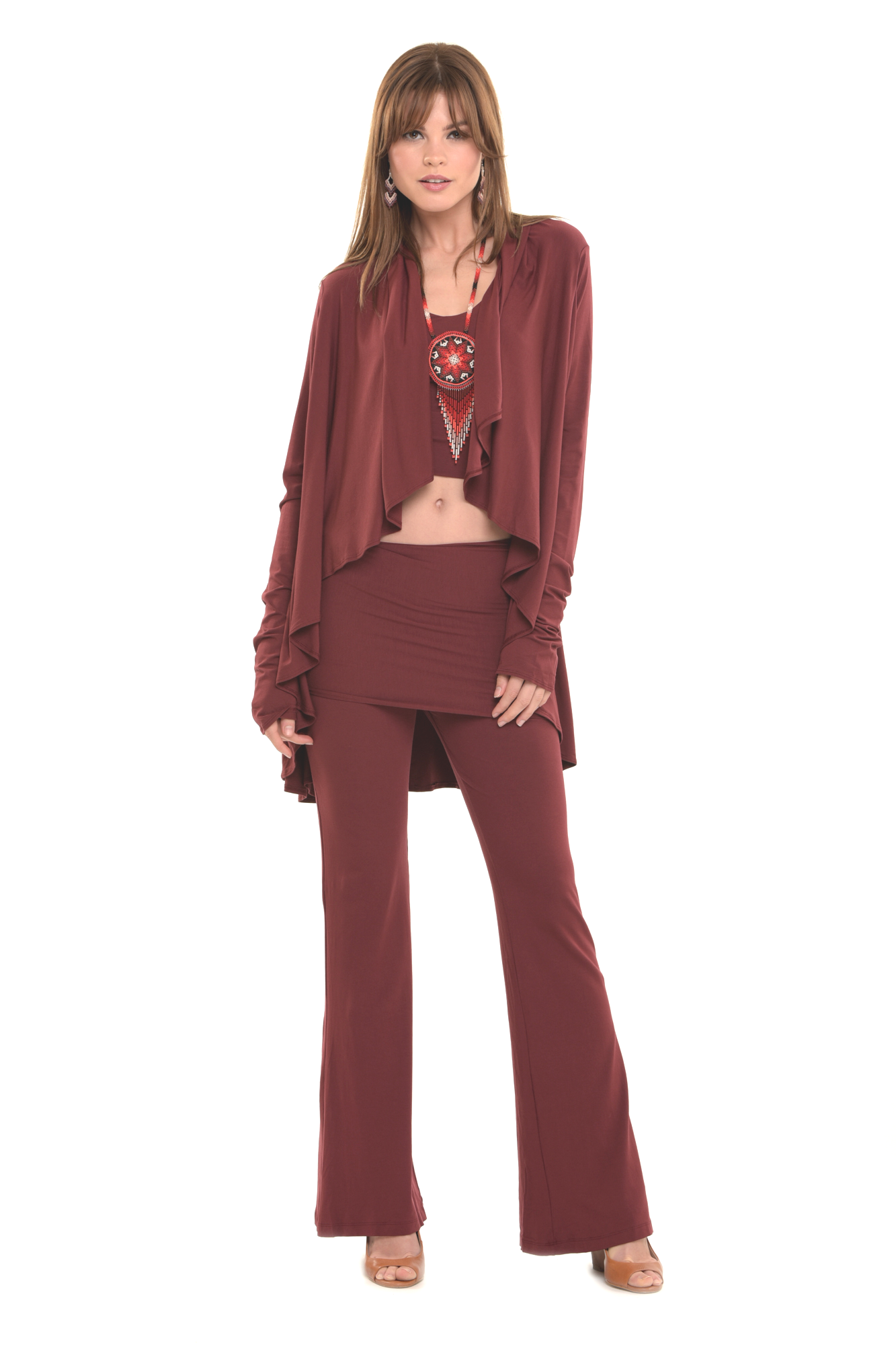 Bamboo Yoga Pants Boot Cut Burgundy