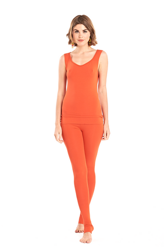 Bamboo Long Leggings Spicy Orange