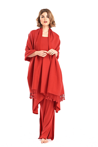 Luxury Hand Printed Shipibo Pure Cashmere Poncho Red/Burgundy