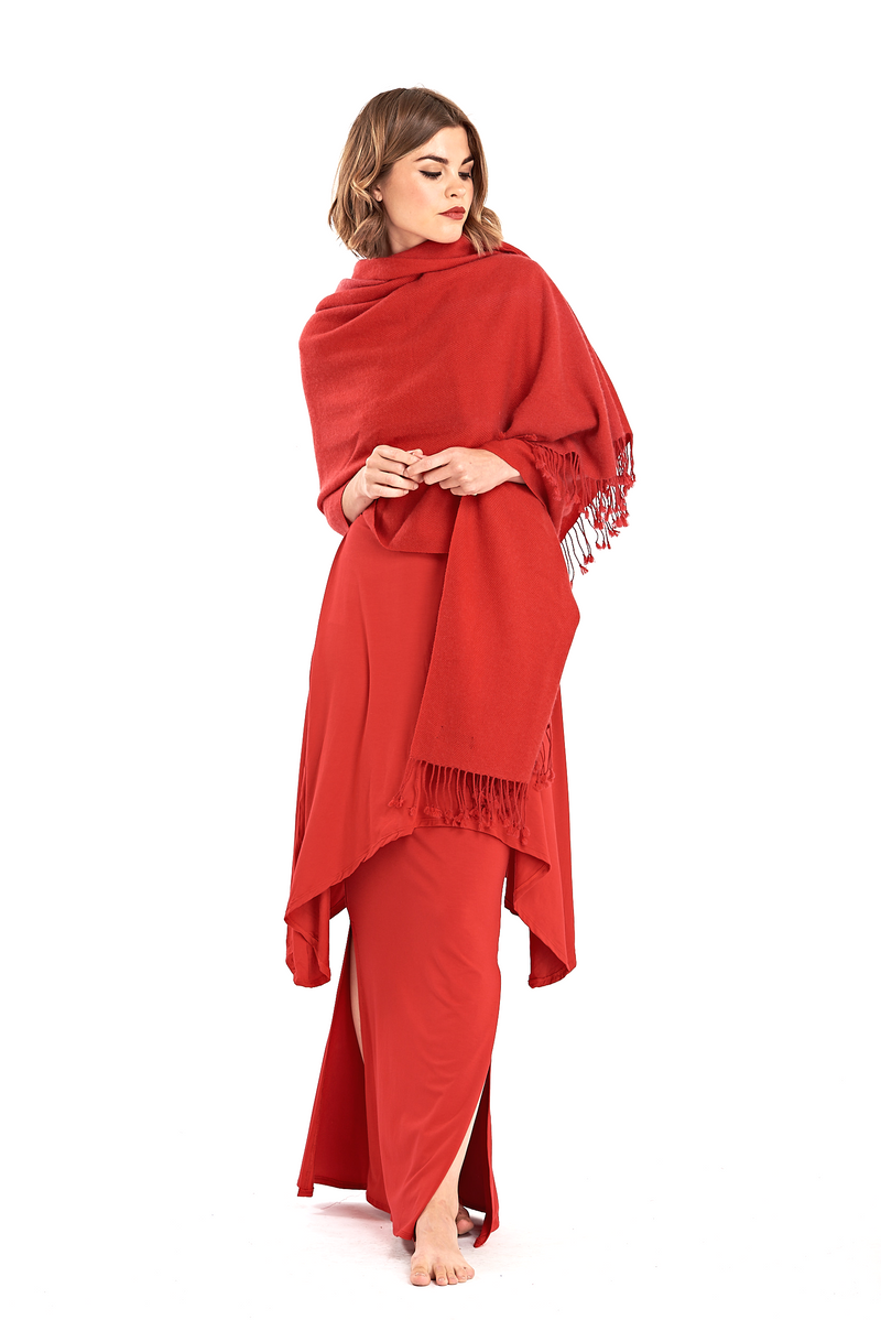 100% Pure Mongolian Luxury Cashmere Herringbone Shawl Red - MUDRA