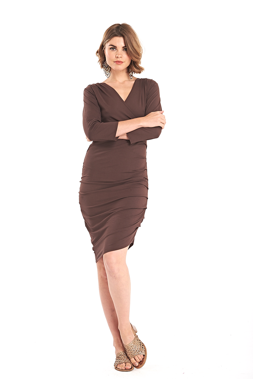Bamboo Crossover Dress Brown - MUDRA