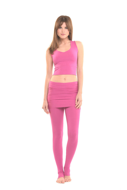 Bamboo Luxury Panelled Leggings Lipstick Pink