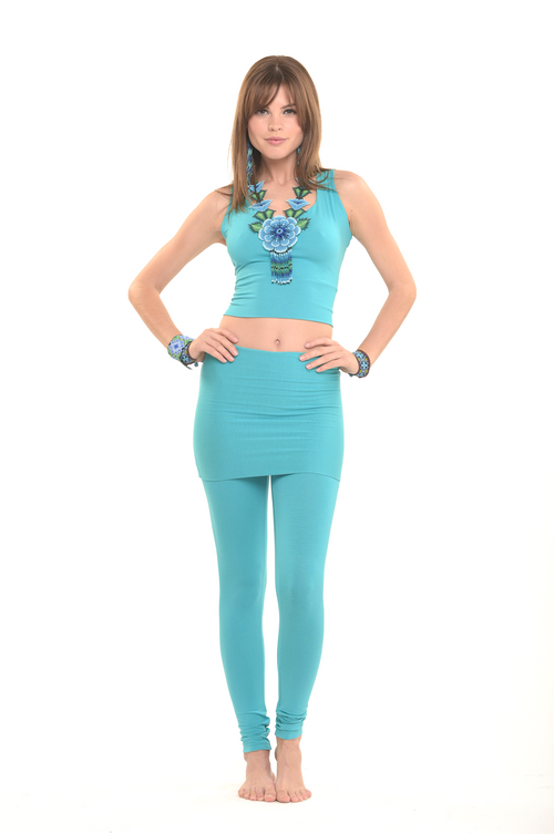 Bamboo Luxury Panelled Leggings Turquoise