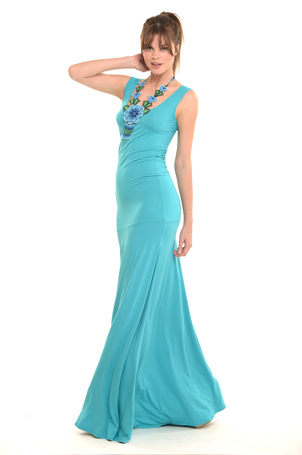 Bamboo Flamenco Dress Turquoise