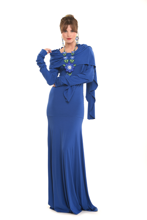 Bamboo Flamenco Dress Cobalt Blue