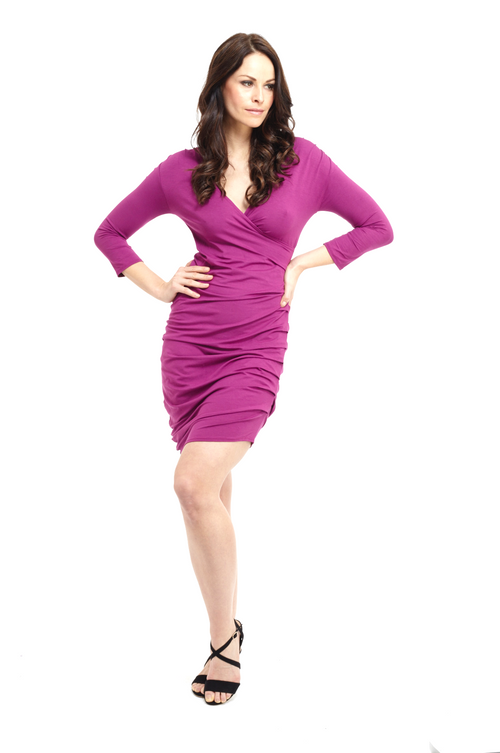 Bamboo Crossover Dress Fuchsia