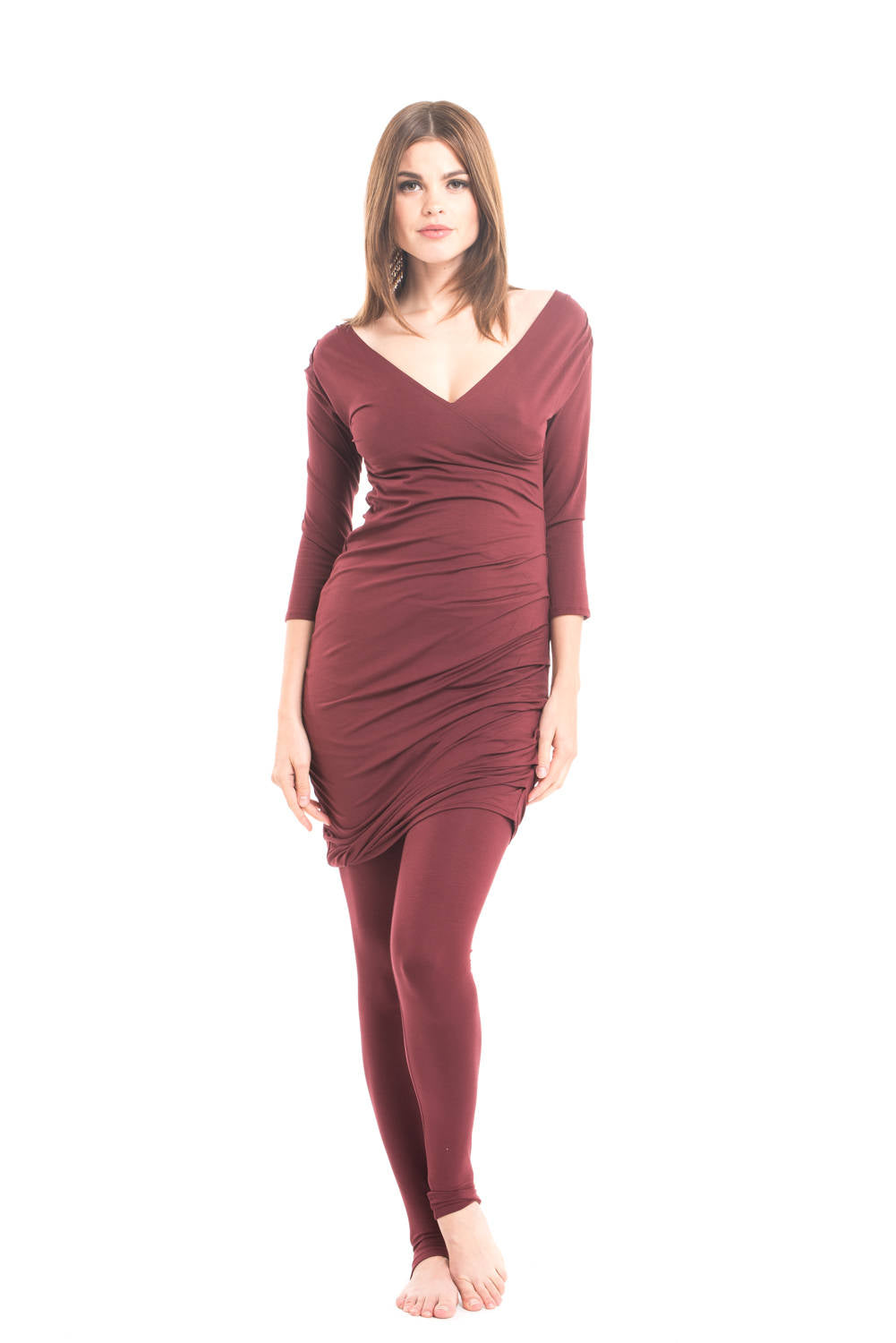 Bamboo Crossover Dress Burgundy - MUDRA