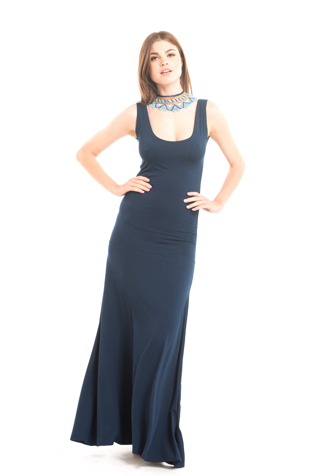 Bamboo Flamenco Dress Navy - MUDRA