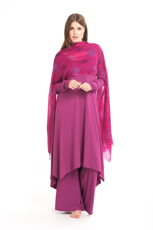 Ultrafine Pure Cashmere Dharma Pink/Purple Shipibo Shawl