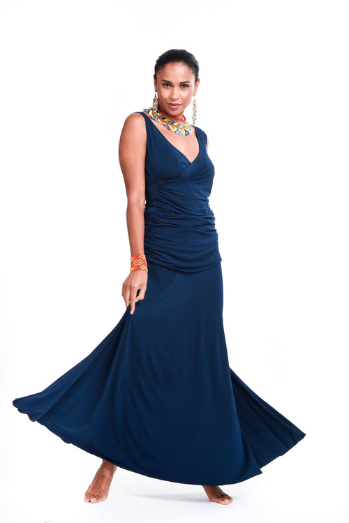 Bamboo Flamenco Skirt Navy