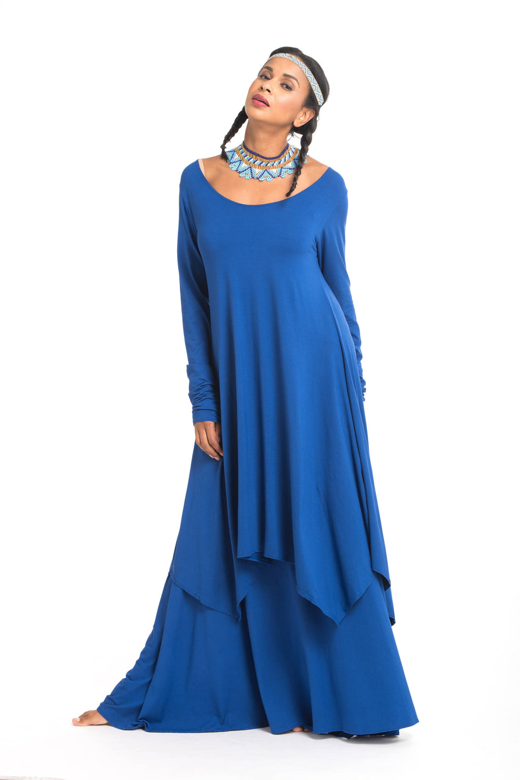 Bamboo Flamenco Skirt Cobalt Blue - MUDRA