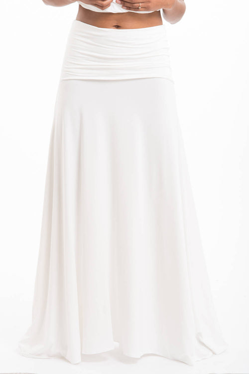 Bamboo Flamenco Skirt White