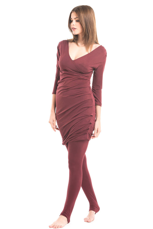 Bamboo Crossover Dress Burgundy