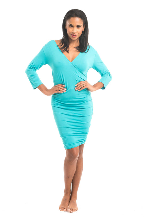 Bamboo Crossover Dress Turquoise