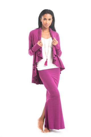 Bamboo Side Slit Skirt Fuchsia