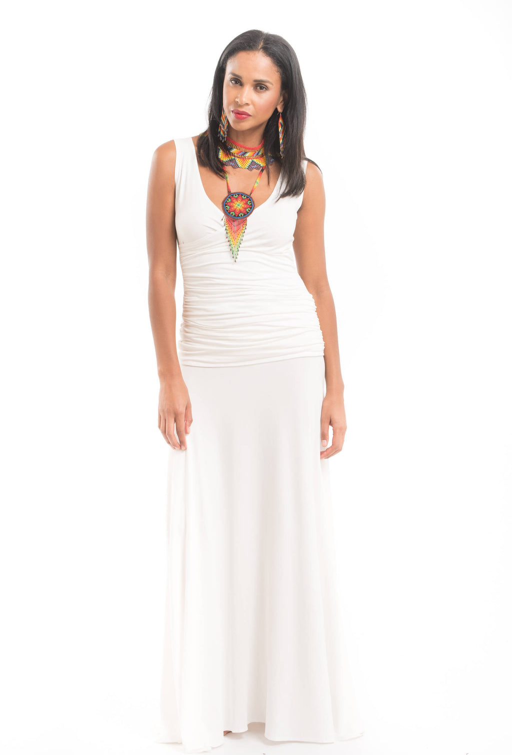 Bamboo Flamenco Skirt White - MUDRA
