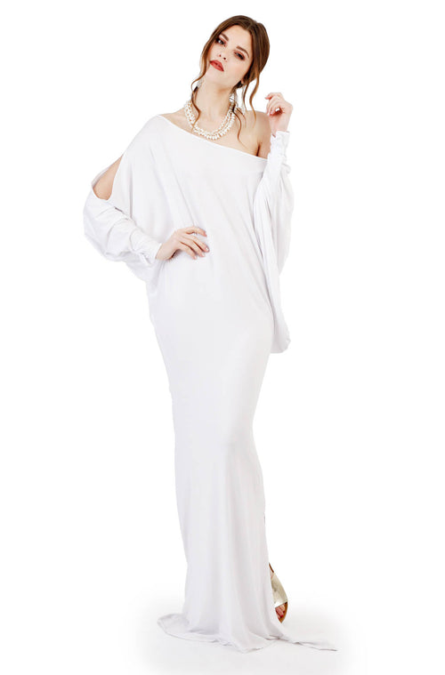 Bamboo Grecian Grace Dress White