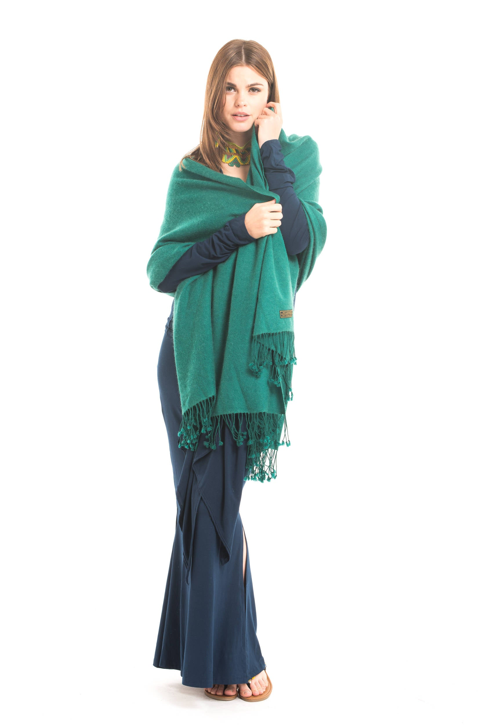 100% Pure Luxury Cashmere Herringbone Shawl Jade