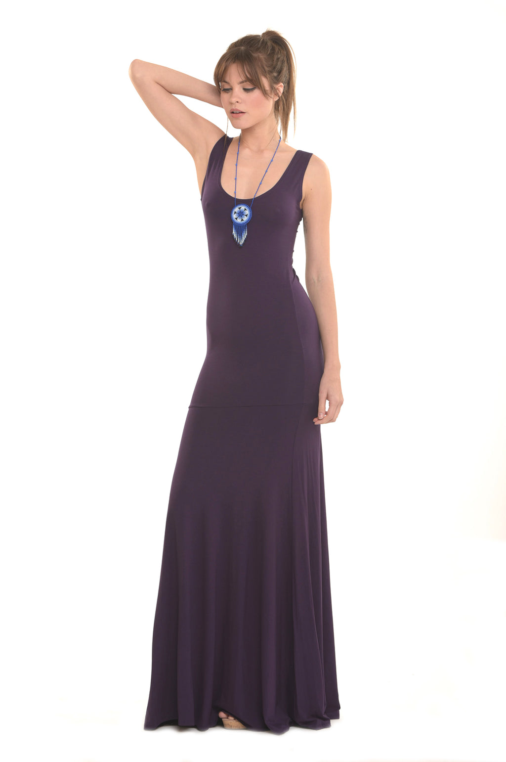 Bamboo Flamenco Dress Deep Purple - MUDRA