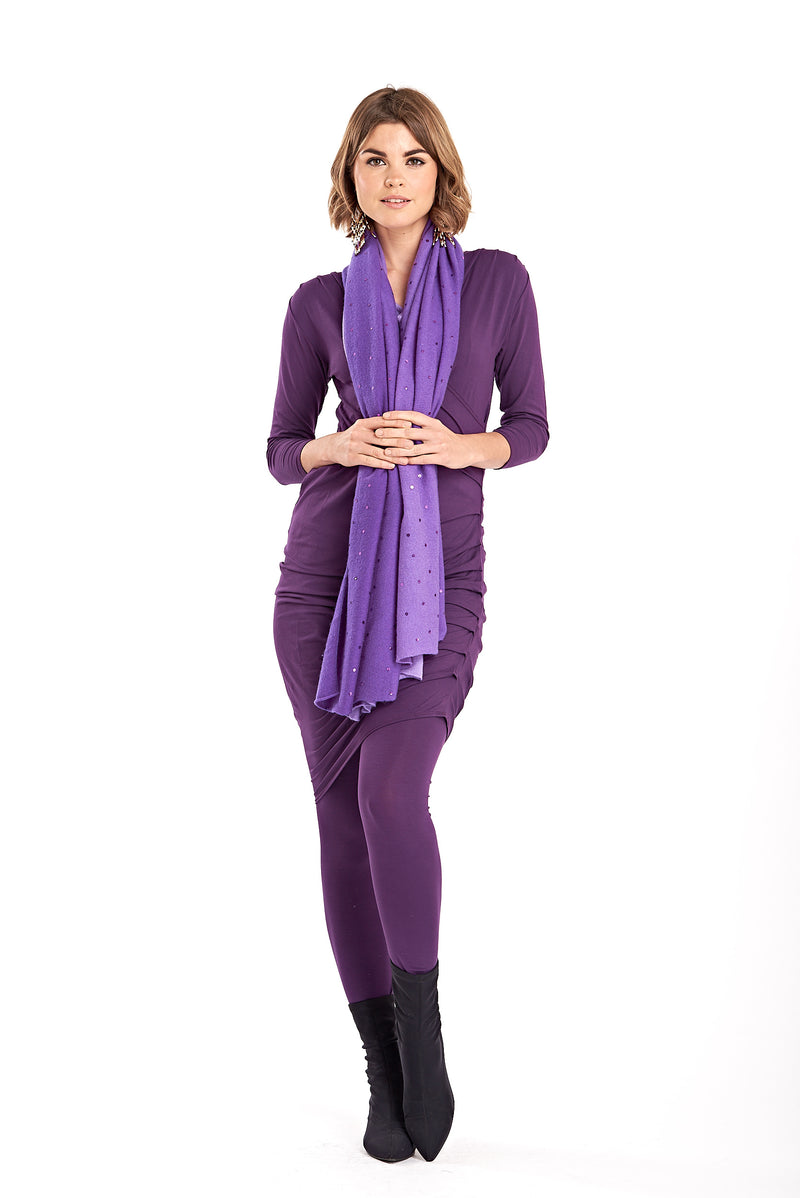 Bamboo Crossover Dress Purple - MUDRA