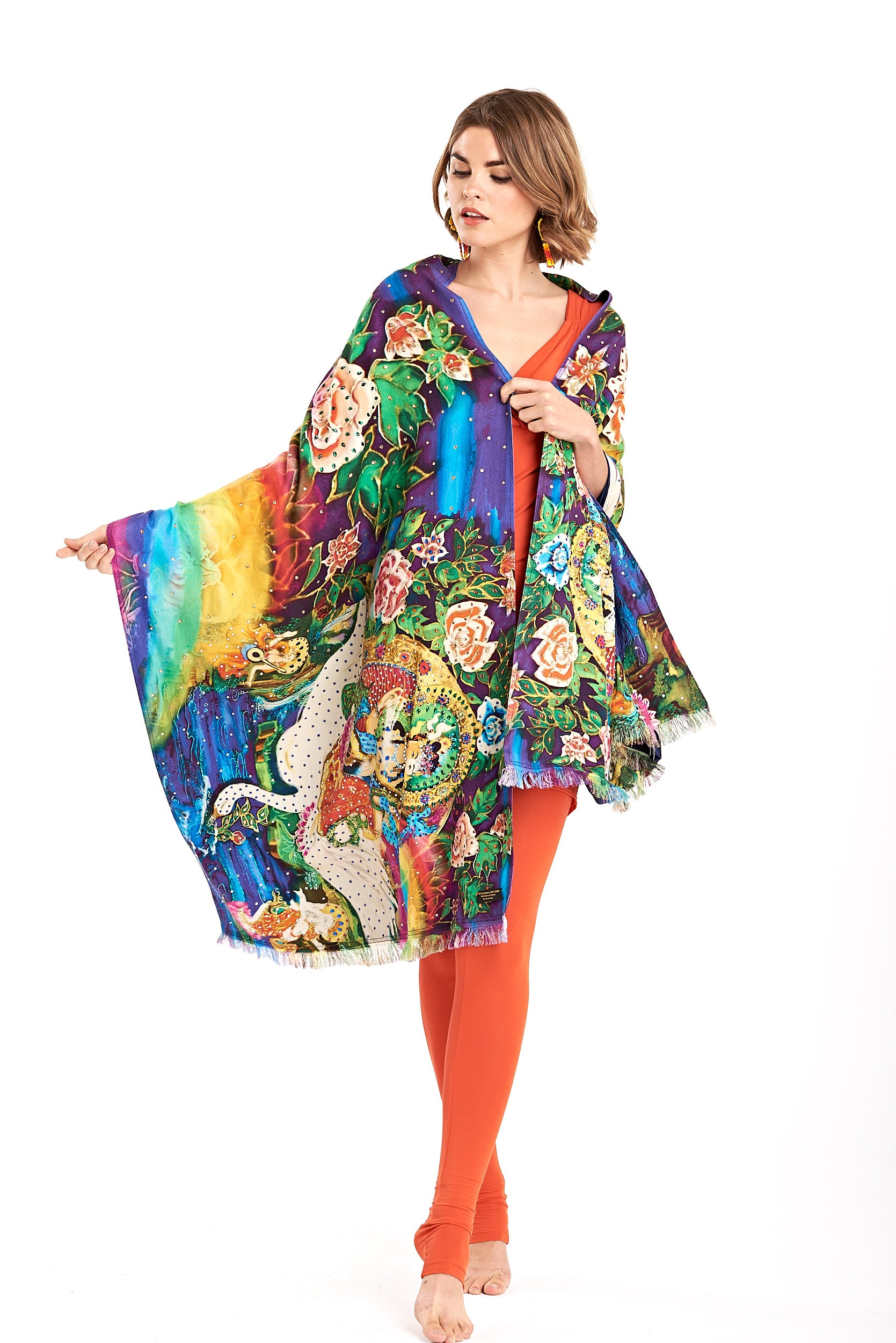 Saraswati Jewelled Swarovski Reversible Cashmere & Silk Shawl
