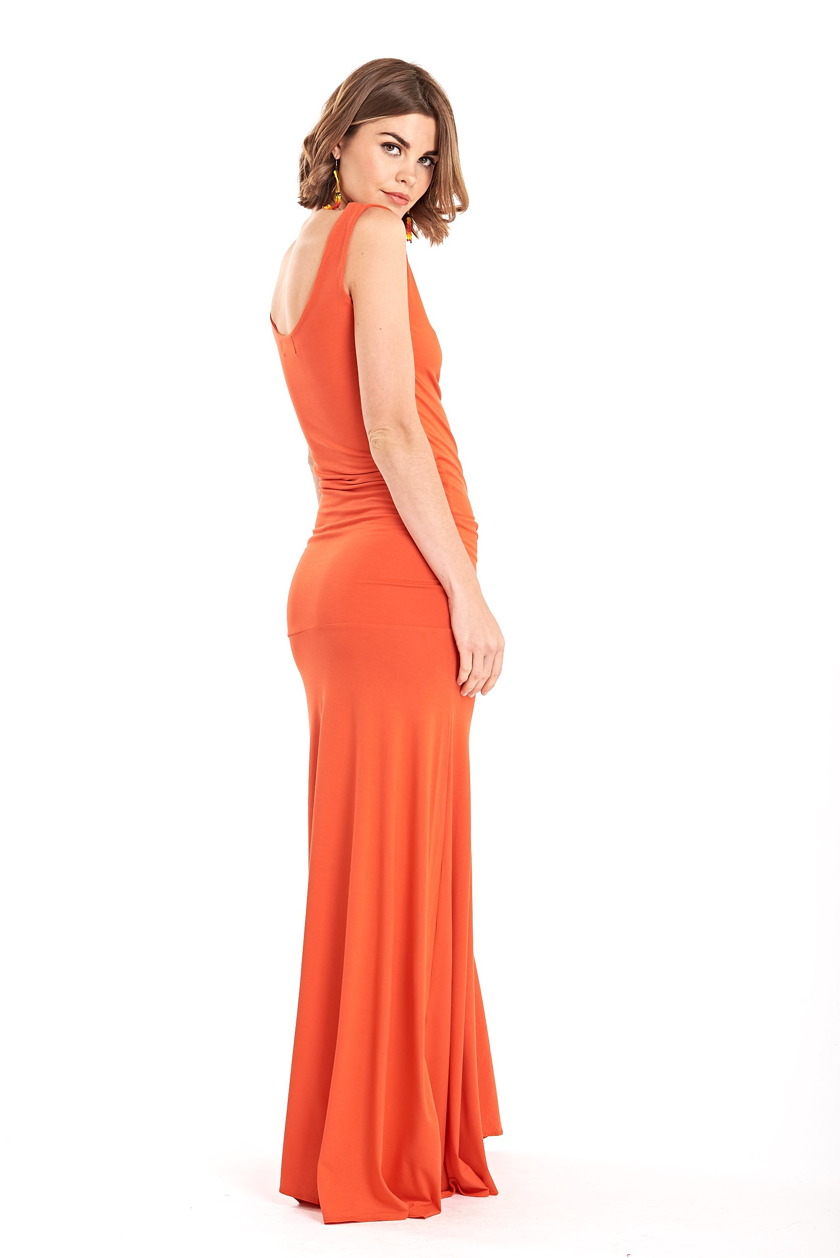 Bamboo Flamenco Dress Spicy Orange