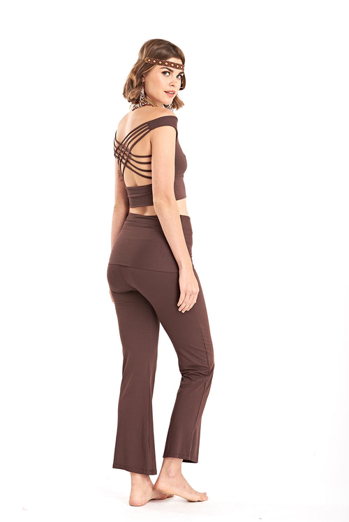 Bamboo Yoga Pants Boot Cut Brown