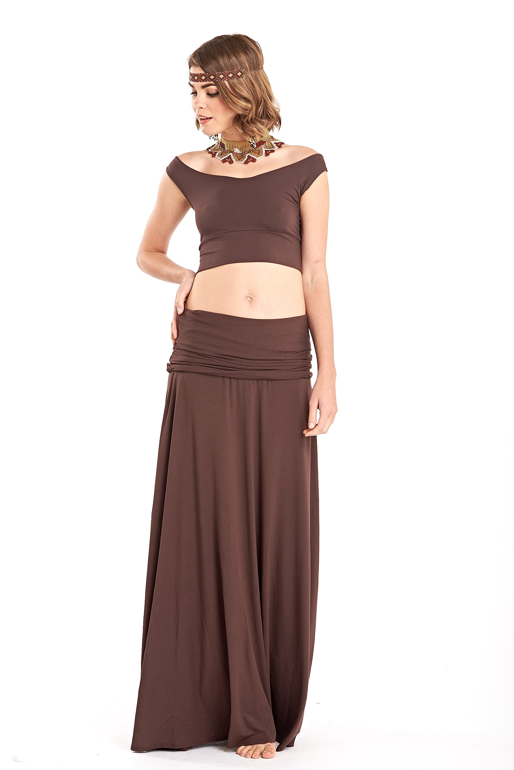 Bamboo Flamenco Skirt Brown
