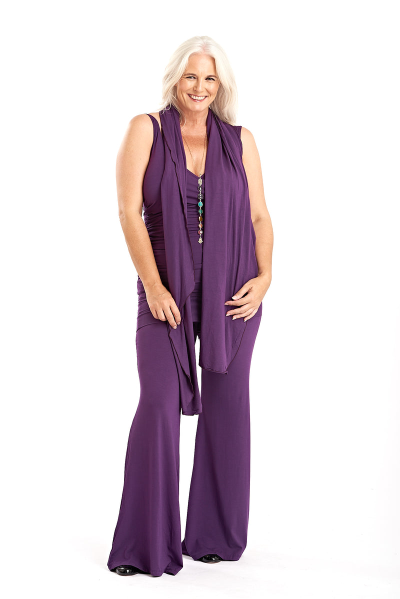 Bamboo Yoga Pants Flared Purple - MUDRA
