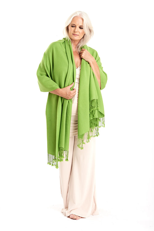 100% Pure Luxury Cashmere Herringbone Shawl Lime