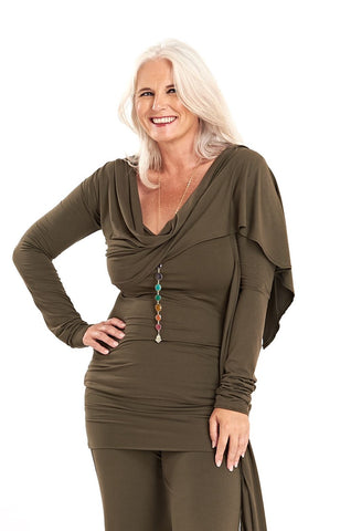 Bamboo Sweetheart Vest Top Olive Green