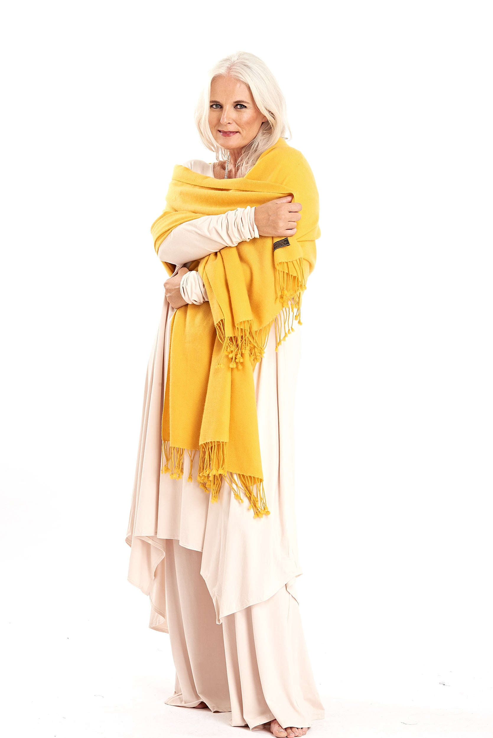 100% Pure Luxury Cashmere Herringbone Shawl Yellow