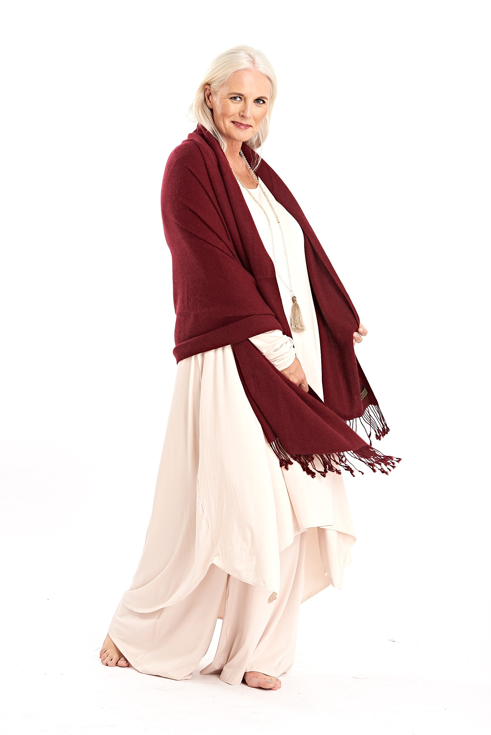 100% Pure Luxury Cashmere Herringbone Shawl Burgundy