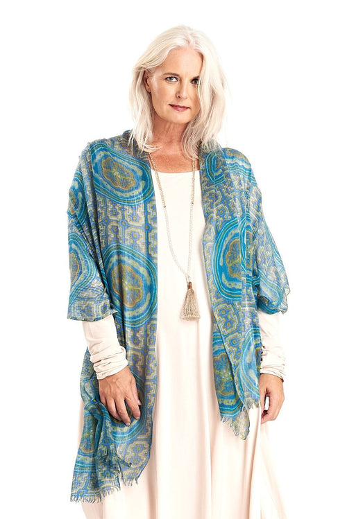 Ultrafine Pure Cashmere Dharma Printed Green/Blue Shipibo Shawl