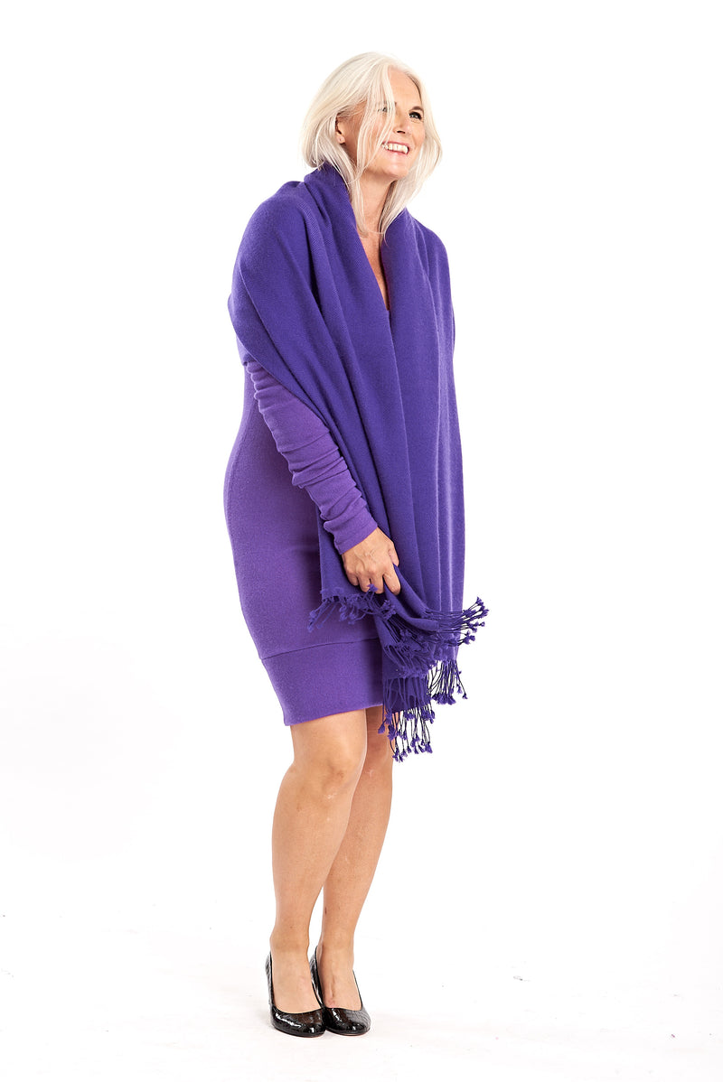 100% Pure Mongolian Luxury Cashmere Herringbone Shawl Purple - MUDRA