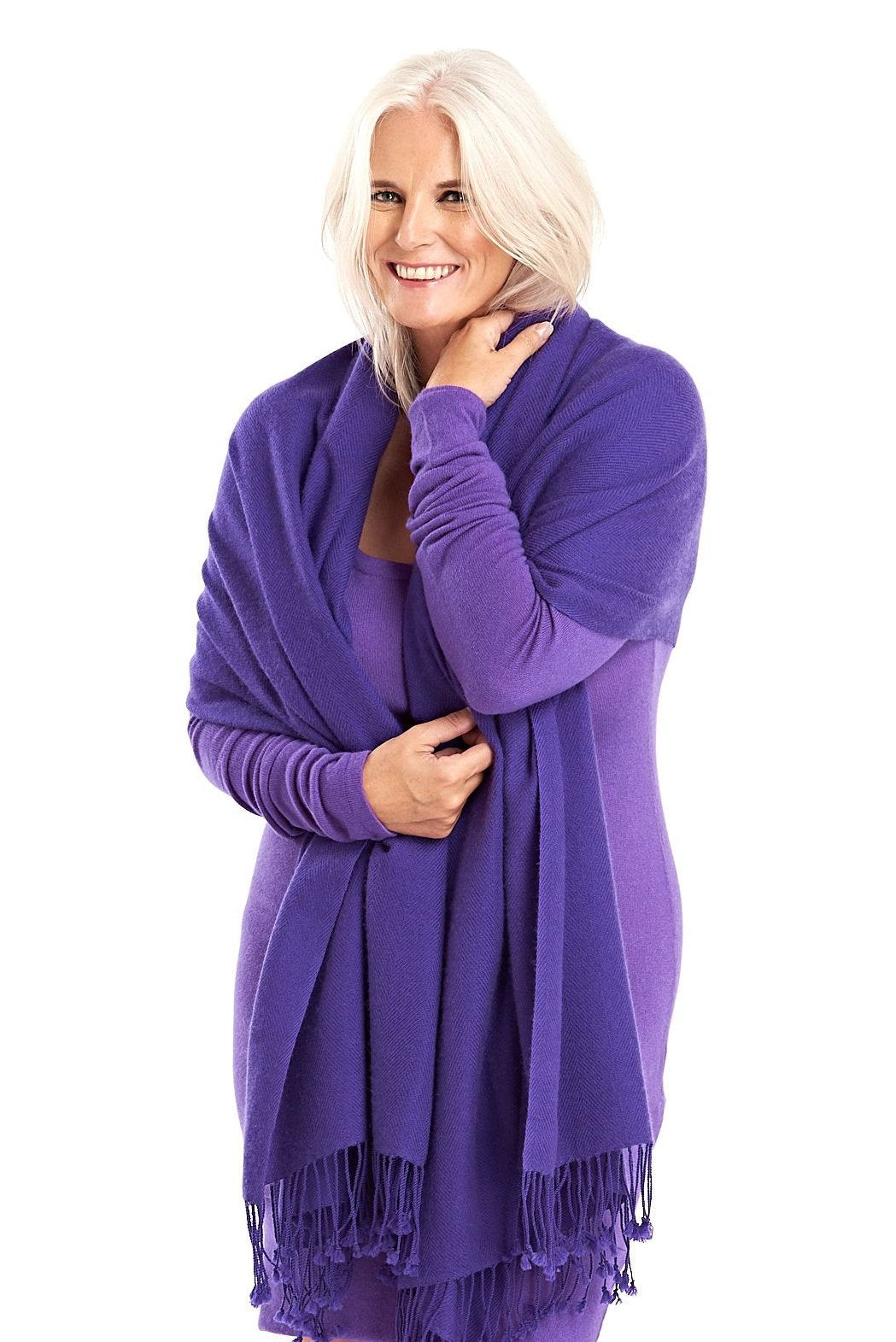 100% Pure Luxury Cashmere Herringbone Shawl Purple