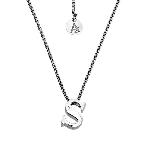 Silver and Diamond Letter Pendant