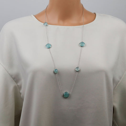Aqua Chalcedony Necklace Long