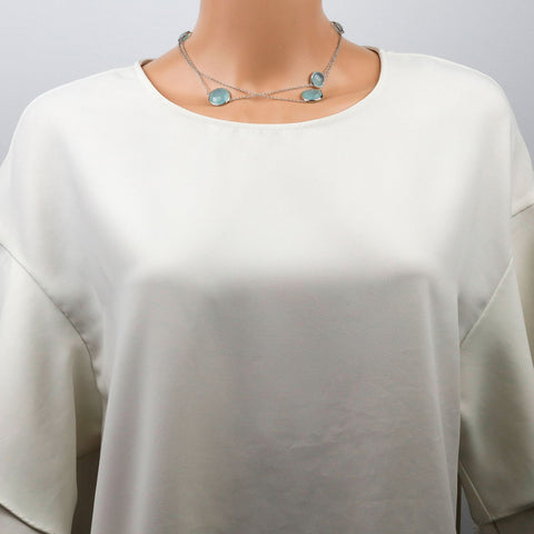 Aqua Chalcedony Necklace Short