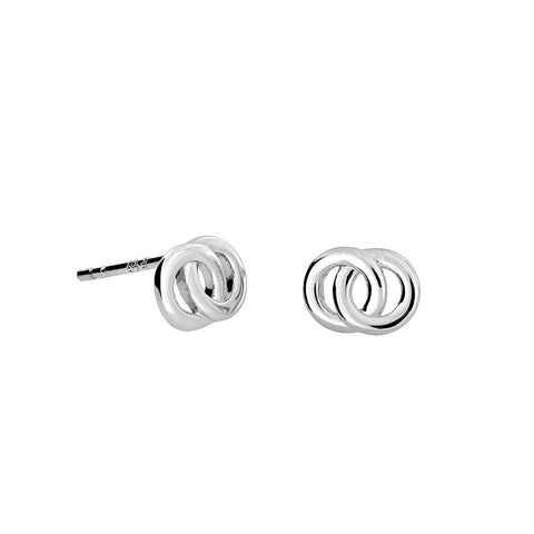 Silver Interlocking Circles Stud Earrings