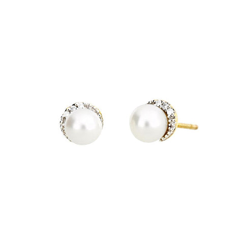 Gold, Pearl and Diamond Stud Earrings